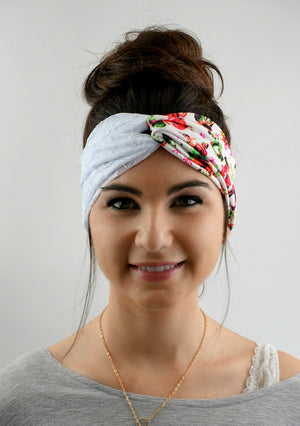 Turban rose headband twist bohemian lace headband