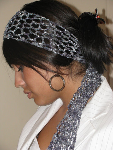 Lace Scarf Head Wrap Black Gray Granite Headband Dressy Headband Hippie Bohemian Head Wrap Scarf Skinny Scarf - CHOOSE Your Color