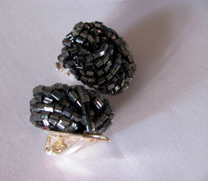 vintage cocktail earrings clip on earrings black tie earrings glass bead studs