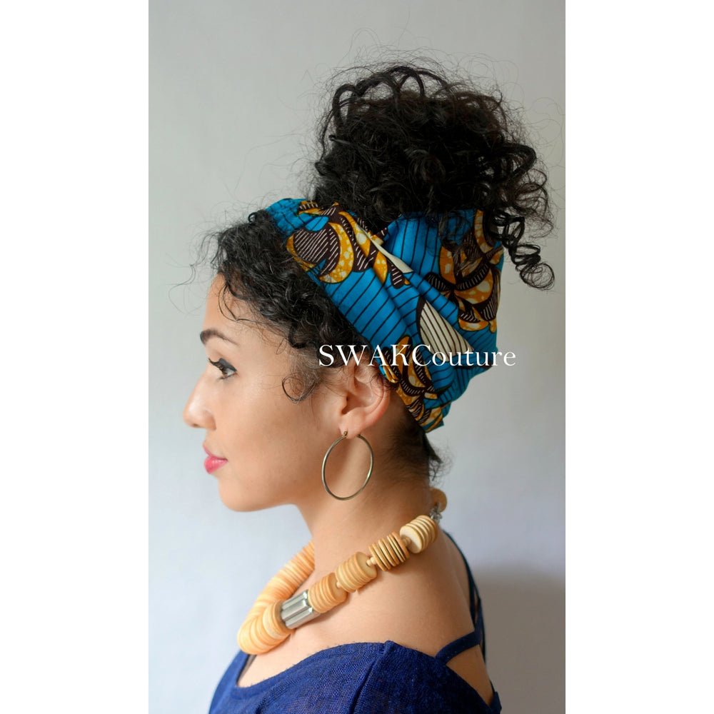 Satin Lined wide headband wrap for Natural curly hair