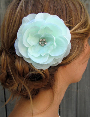 Wedding Bridal Comb Silk Rose Peony Hair Comb Facisnator Pale Mint Green - IVORY & WHITE Also Available