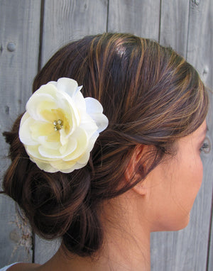 Bridal Hair Comb Silk Rose & Rhinestone Comb Wedding Rose Comb Hair Pale Yellow Flower Comb Wedding Hair Accessories Bridesmaid Comb