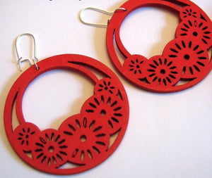 Wood Hoop Earrings Red Bohemian Wood Earrings Large Hoop Earrings Hand Carved Earrings Bohemian Earrings - CHOOSE Your Color