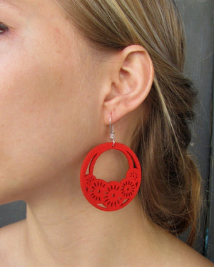 wood filigree earrings ethnic jewelry chandelier earrings clip on hoop earrings