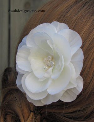 Wedding Comb Pearl & Silk Rose Comb Bridal Comb Wedding Hair Comb Bridal Hair Accessories Fascinator - Choose your color