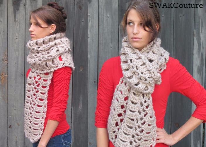 Verle Chunky Long Scarf - Handmade, Natural or Choose Your Color