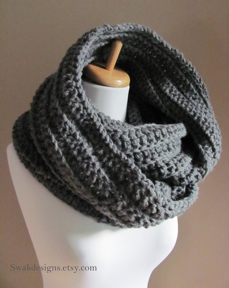 Wool Eternity Scarf Unisex Cowl Scarf The 24 Hour Cowl Knit Scarf Infinity Loop Circle Scarf Chunky Snood Charcoal Gray or CHOOSE Your Color