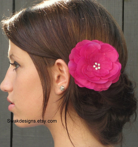 Silk Peony Rhinestone Bridal Comb Bridal Flower Silver Comb Wedding Hair Accessories - Fuschia Pink or Choose Your Color