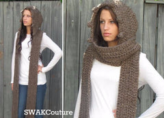 Messenger Hooded Long Scarf
