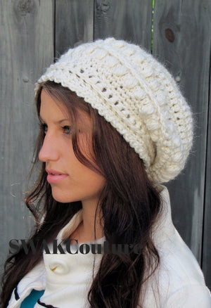 Slouchy Hat Handmade hat Beanie Crochet Hat Knit Cap Bobble Hat affordable Hat Trendy Accessories Bohemian Caps Boho Hats