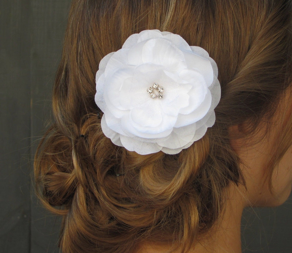 White Bridal Comb Flower Hair Comb Rose Peony Comb Rhinestone Comb Wedding Hair Accessories Fascinator Peony Bridal Comb