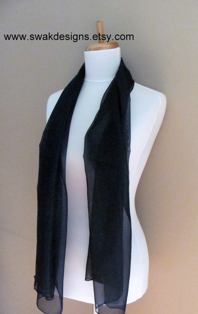 Navy Blue Chiffon Scarf Scarf - Bridesmaid Wedding Scarf Chiffon Wrap Bridesmaid Scarf Special Occasion Wrap