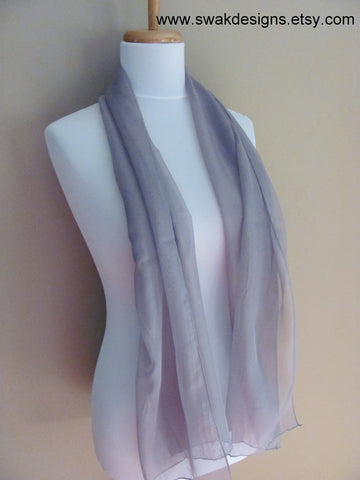 Chiffon Scarf Light Gray Sheer Scarf Womens Scarf Wedding Wrap Summer Scarf Chiffon Bridal Wedding Scarf - CHOOSE Your Color