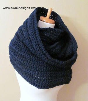 Wool Scarf Eternity Hooded Scarf Womens Scarf Fashion Scarf chunky Cowl Scarf Oversized Wrap - Navy or CHOOSE Your Color