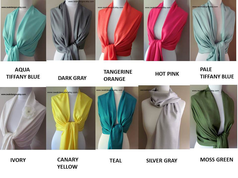 Wedding Pashmina Scarf Set Bridal Shawl Wraps - Choose Any 6 Colors (6-piece set)