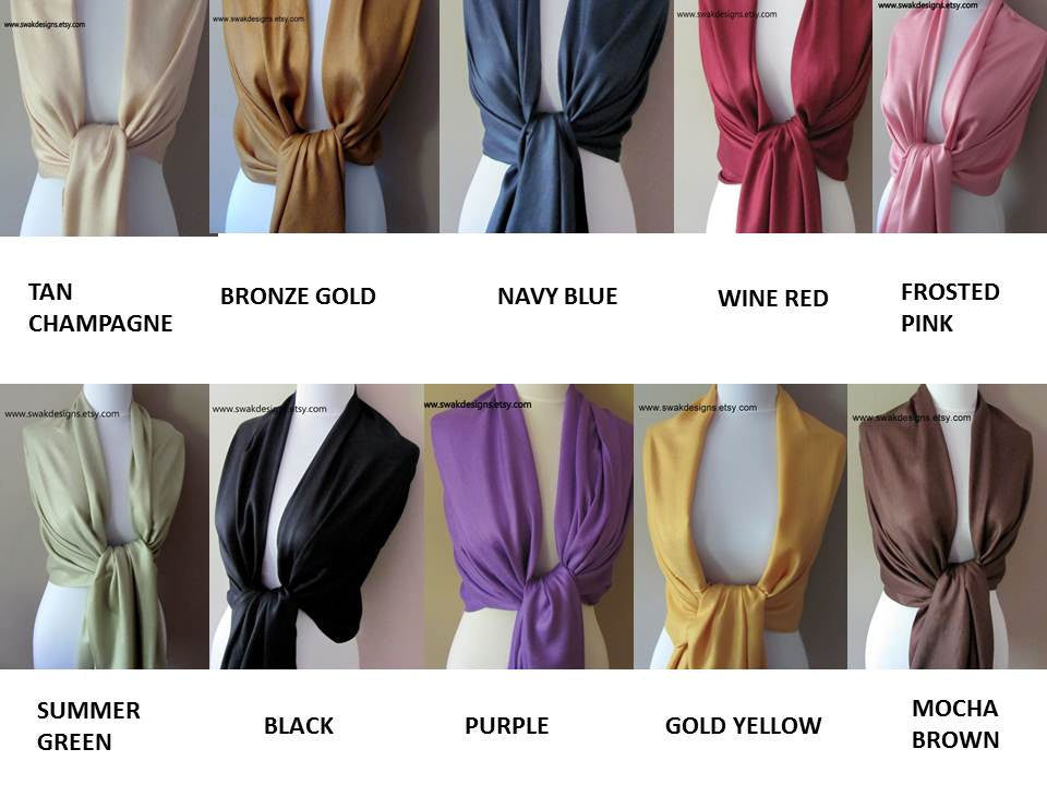 Wedding Pashmina Scarf Set Bridal Shawl Wraps - Choose Any 10 Colors (10-piece set)