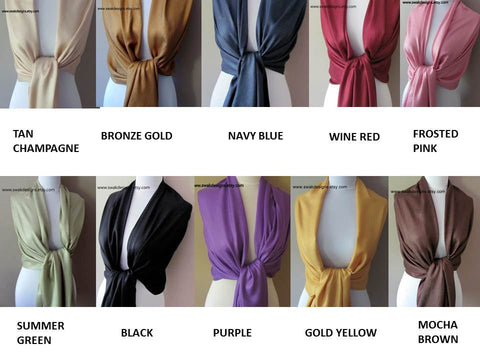 Wedding Pashmina Scarf Set Bridal Shawl Wraps - Choose Any 7 Colors (7-piece set)
