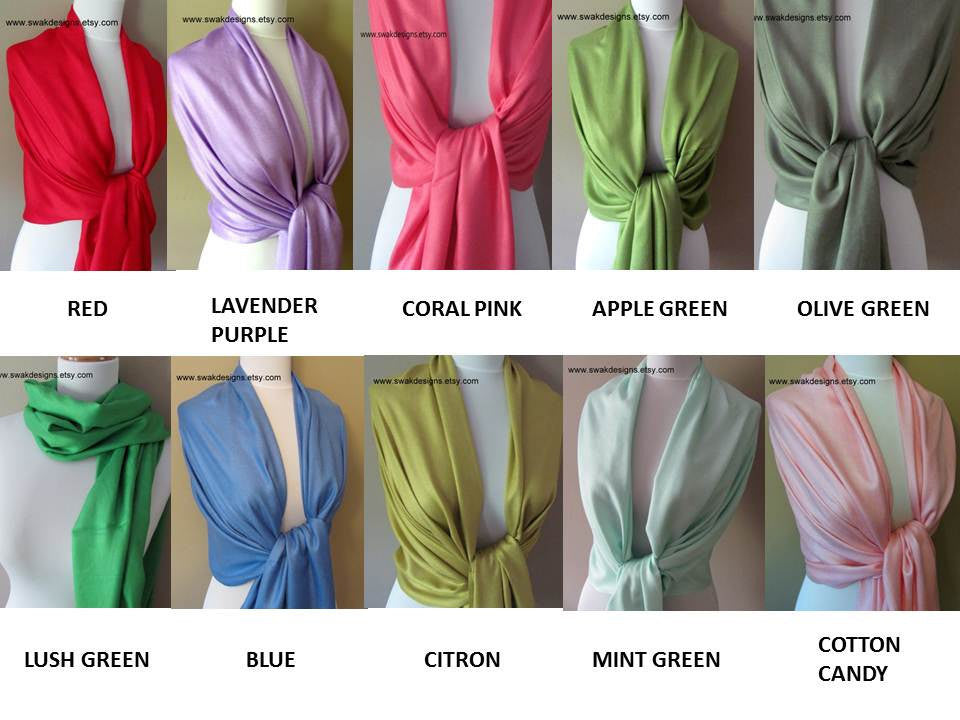 Wedding Pashmina Scarf Set Bridal Shawl Wraps - Choose Any 5 Colors (5-piece set)
