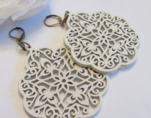 wood filigree earrings ethnic jewelry clip on hoop earrings