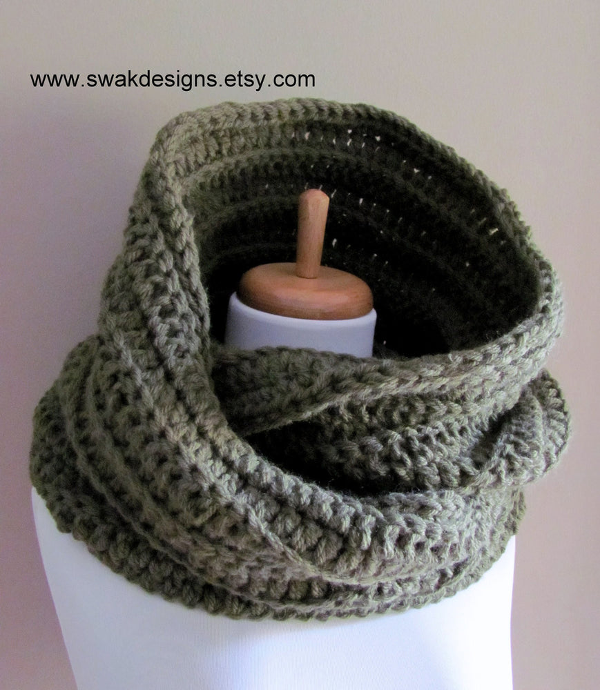 Oversized Wool Eternity Scarf Unisex Hooded Snood Cowl Scarf 24 hour Oversized Cowl - Olive Sage Green or CHOOSE Your Color