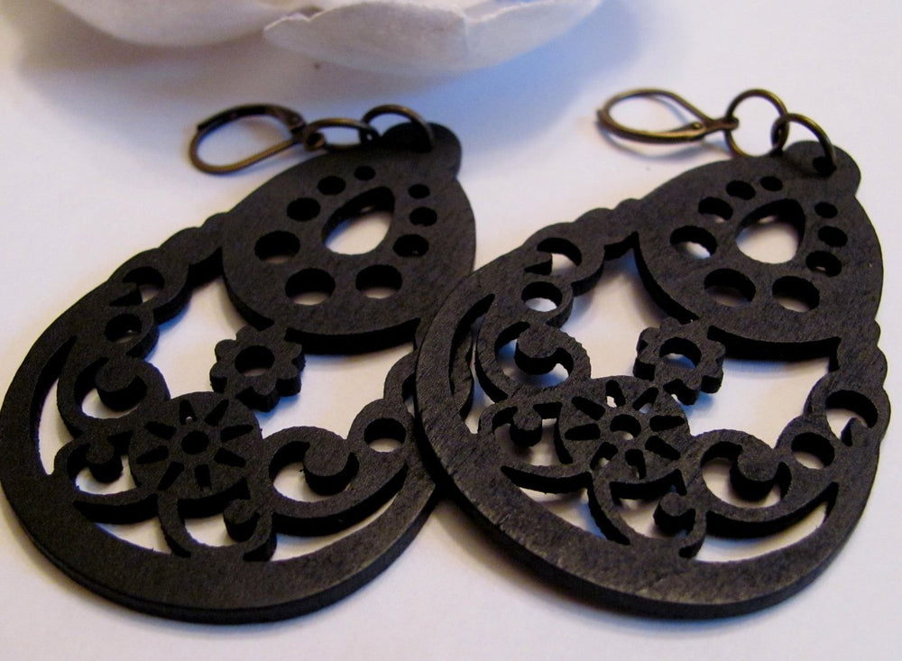 Black Tribal Filigree Earrings - Wood