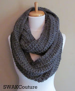 Ribbed Eternity Scarf 100% Wool Scarf - Charcoal Gray or Choose Your Color