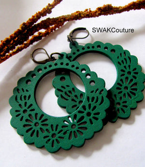 Green Hoop Wood Earrings, Bohemian Filigree style Lightweight WoodCarved Earrings Dangle Earrings Black or Green CHOOSE Your Color