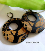 wood hoop earrings clip on bohemian earrings Ethnic earrings tree of life earrings