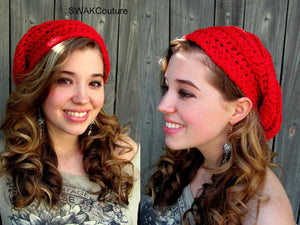 Cotton Slouchy Beanie Womens Hat Seasonal Beanie Womens Tam Summer Hat Crochet Handmade Beanie Cap Red or CHOOSE Your color