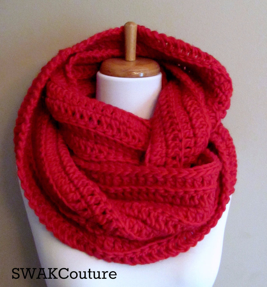 Ribbed Eternity Scarf 100% Wool - Red or Choose Your Color