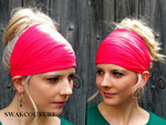 Hot Pink Yoga Wide Headband Wrap