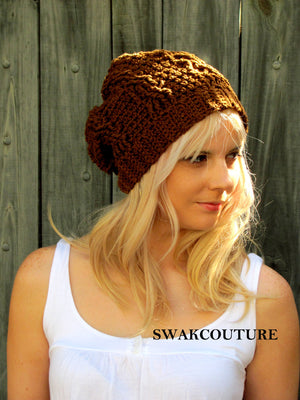 Slouchy Beanie Womens Hat Hand Knit Cable Cotton Textured Seasonal Beanie, Coffee Brown or CHOOSE Your color, 100% Cotton