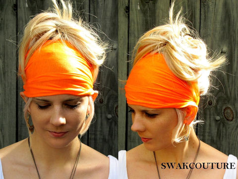 Yoga Head Wrap Cotton Jersey Wide Headband - Orange or Choose Your Color