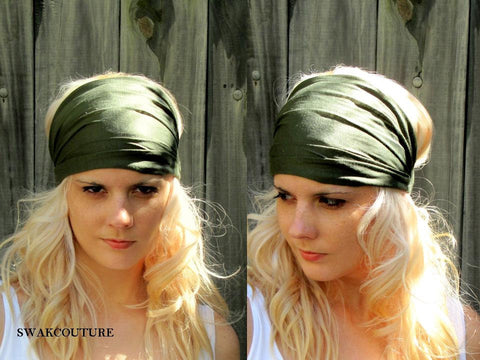 Yoga Head Wrap Cotton Jersey Wide Headband - Army Green or Choose Your Color