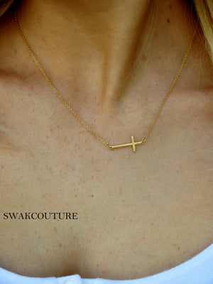 Sideways Cross Necklace gold plated necklace minimalist jewelry celebrity jewelry