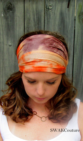 Wide Yoga Headband  Orange & Brown Tie Dye Cotton Jersey Headband Turband Turban Headband Running Women's Workout Headband or Choose Color