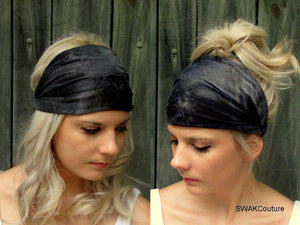 Wide Yoga Headband Black Gray Tie Dye Running Headband Cotton Jersey HeadBand Wide Head Wrap Workout HeadBand Chemo Band