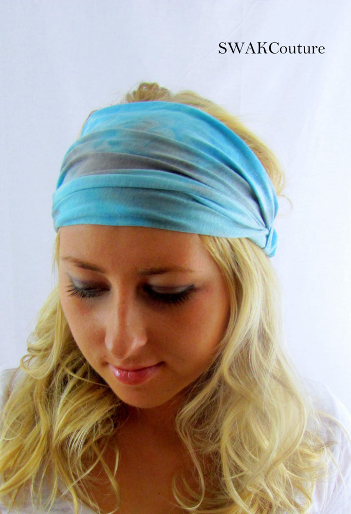 Tie Dye Wide Yoga Headband Cotton Jersey HeadBand Workout HeadBand Chemo Band Choose Your Color, Blue Gray Brown Pink Yellow Black Gray