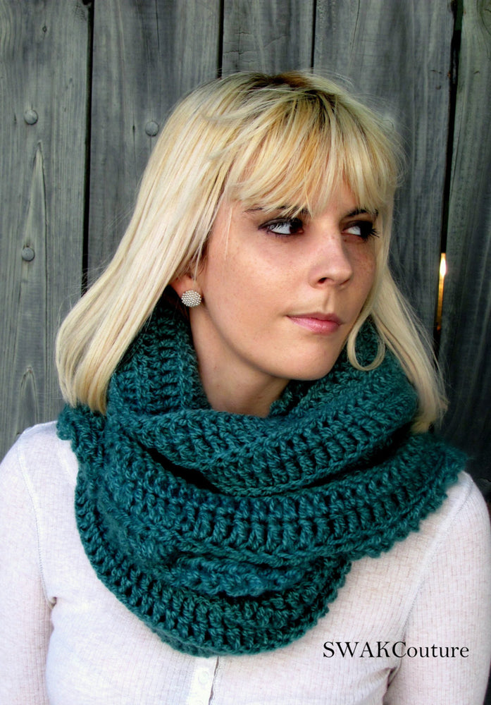 Womens Scarf Oversized Infinity Scarf Chunky Scarf Cowl Knit Cowl Snood Women's Fashion Accessories Parsley Green or CHOOSE Your Color
