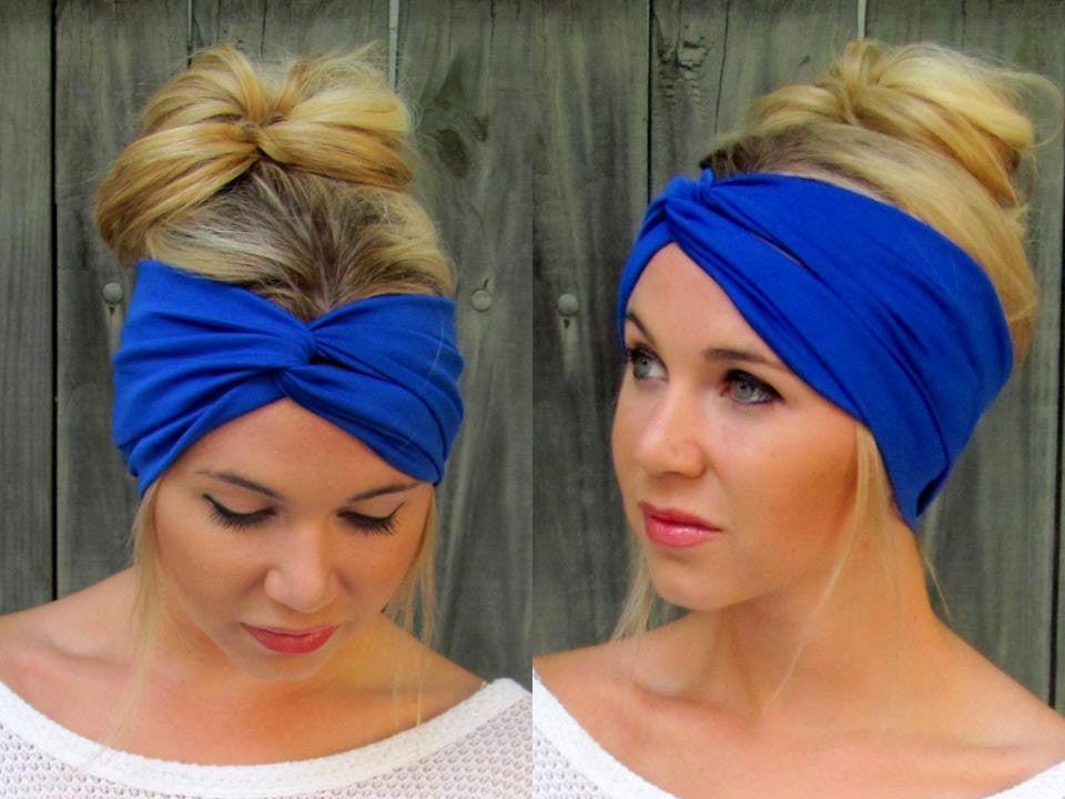 Blue Twist Turban Headband Wrap