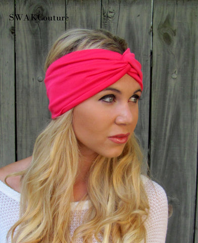 Hot Pink Twist Turban Headband Wrap