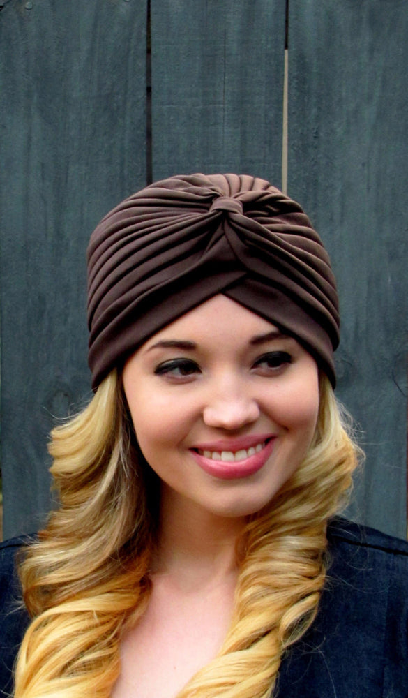 Pleated Turban - Dark Brown or Choose Color