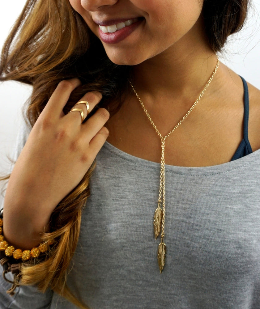 Feather Layer Necklace - gold plated