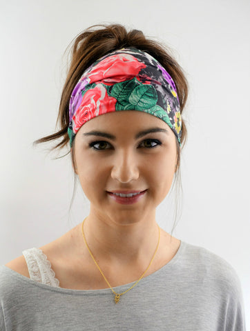 Yoga Wide Headband Red Rose Headband Hair Wrap Workout Stretchy Tropical Flower Headband Women's Girls Hair Accessories