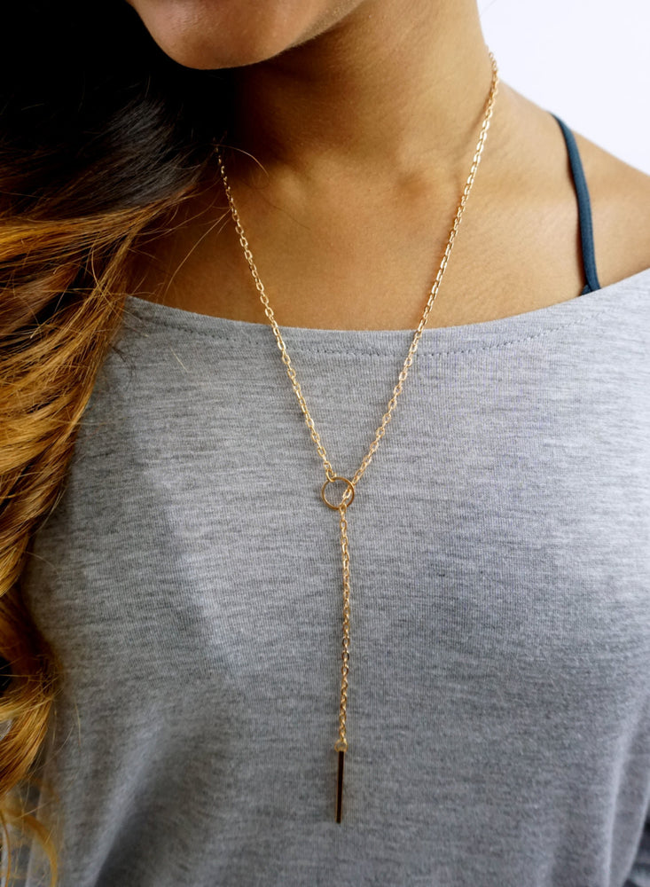 Long Toggle Necklace Adjustable Circle & Toggle Bar Necklace BBF Gift Gold Plated Necklace Charm Necklace Minimal Jewelry Dainty Necklace