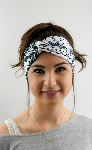 Turban Headband Hunter Green Black Cream Aztec Arrow Headband Turband Twist HeadBand Bohemian Womens Hair Accessories