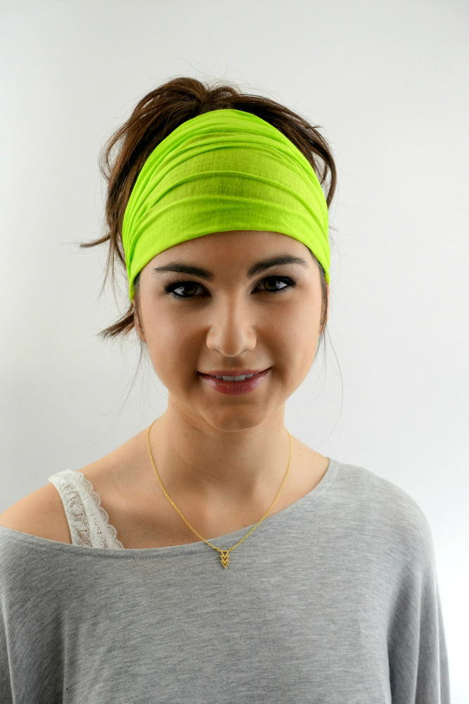 Yoga Headband Head Scarf Lime Green Wide Headband Head Wrap Cotton Jersey Women's Workout Running HeadBand Hair Wrap or Choose Your Color
