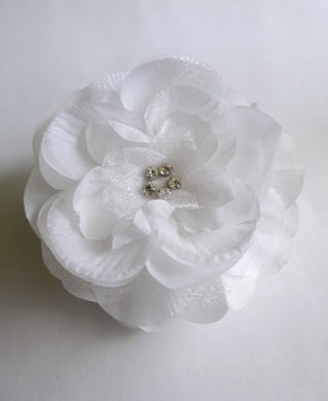 Bridal Comb White Rose Comb Weddings Bridal Hair Accessories Fascinator Silk Rose Comb with Rhinestone center - or CHOOSE Your Color