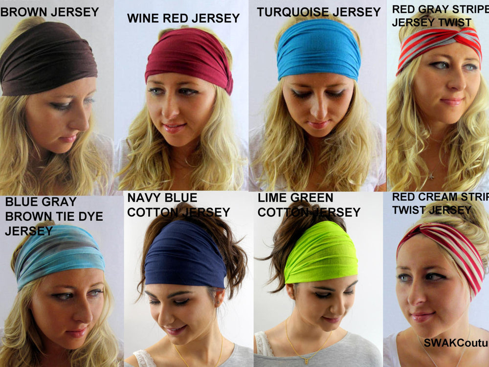 Yoga Wide Headband Choose Any Three - COTTON JERSEY Stretch Head Wrap Workout Headband Wide or Jersey Twist Running Headband Head Wrap