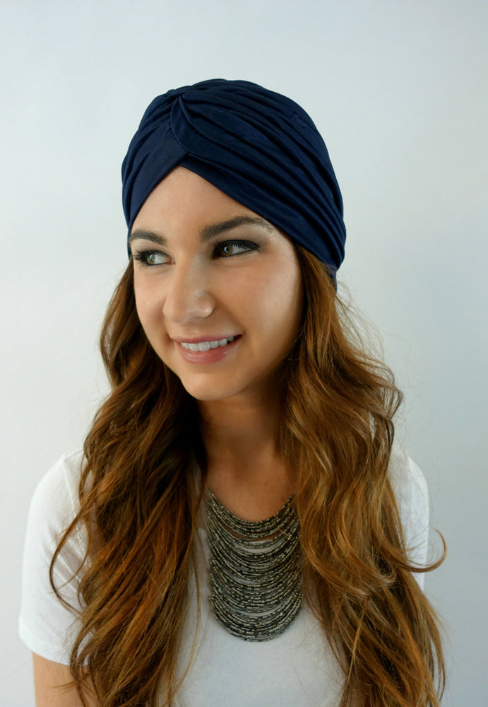 Pleated Turban - Navy Blue or Choose Color